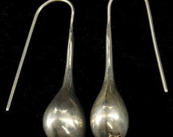 "Vintage Sterling Modernist Mexico Teardrop Earrings 1.5"" Long"