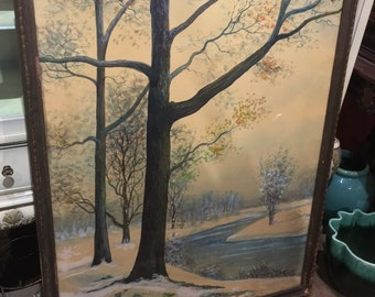 Antique Rahael Senseman Water Color Painting Winter Stream Landscape Poster Size Huge