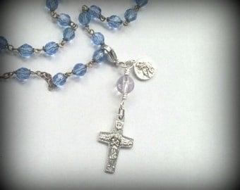 Christian zipper pull, keychain clip, rosary place marker, Pope Francis crucifix, Our Lady of Perpetual Help