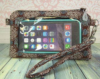 Ready to Ship • cell phone wristlet case • stadium approved size bag • convertible clutch • brown • Keep in Touch Wristlet™ • celtic knots