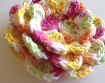 Crochet Flower with Hair Tie - Large, Brightly Colored Flower on Pony Tail Holder