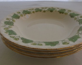 Vintage China Soup Bowls, Pope Gosser China, American Ivy, Green Ivy with Gold Edge, 4 Pieces