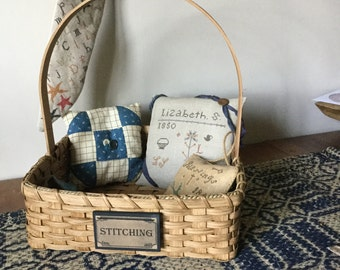 Stitching Basket, Low sided display basket, primitive decor, farmhouse rustic, cottage chic, market basket, cross stitch storage