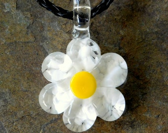 Glass White Daisy Pendant, Hand Sculpted