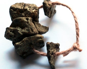 Ways to die in space -- 5 irregular, meteorite-like, dark golden ceramic art beads