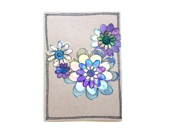 Handmade Blank Card - Paper Flower Garden series 1 - 5x7 (PFGL-0017)