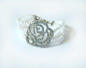 Rose Rhinestone Bracelet Crystal Wedding Bracelet Evening Diamond Pearl Flapper Costume Great Gatsby Bridal Retro Woman Jewelry Accessory