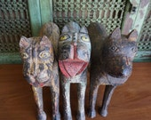 Folk Art Tigers / Listing is for One Tiger / Hand Carved and Painted / Shipping Included in the U.S.