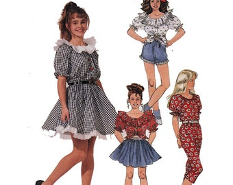 peasant blouse full skirt capri pants daisy duke shorts easy sewing pattern 90s uncut size 14 - Daisy Dukes Halloween Costume