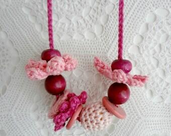 Little Miss Crochet Jewelry Kit 4- crochet necklace, girls necklace,flowers,flower set,crochet jewelry, flower necklace,crochet accessories