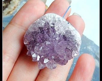 Drusy Geode Amethyst Gemstone Pendant Bead,33x33x16mm,20.7g(a0388)