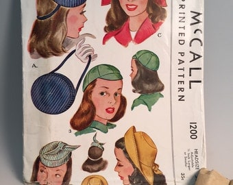 1940s Original Hat & Purse Pattern  - Vintage McCall Pattern - #1200- Size 22 - Unused