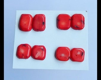 SALE,4 Pairs Bamboo Coral Cabochons,11.05g