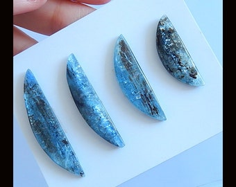 New,4 PCS Blue Kyanite Gemstone Cabochons,40x9x3/26x8x4mm,10.66g