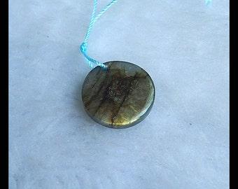 Labradorite Gemstone Round Pendant Bead,19x5mm,3.6g