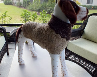 "Use Coupon Code holiday2016 for 10 dollars off Dog Sweater Hand Knit Yummy 22"" inches long Wool"