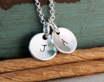 Hand Stamped Mommy Necklace -  Personalized Sterling Silver Jewelry - Petite Initial Tags Duet Necklace
