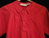 Vintage Hippie  Boho Cotton Blouse - Red Top with Embroidery - Star of India - M