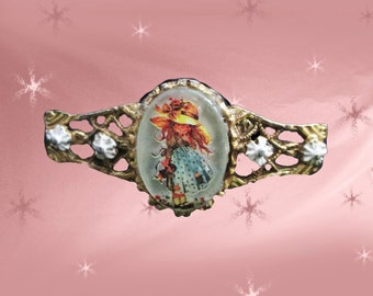 Vintage Cameo Brooch - 70s Little Girl Cameo Pin - Holly Hobbie Look Alike