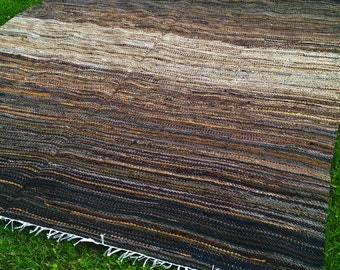 Extra Large Handwoven  vintage look, area rag rug -7.02 ' x 9.12' brown, dark olive green, mustard,beige. Ready for sale