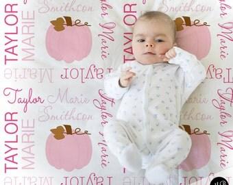Pumpkin Name Blanket in Pink and Brown, personalized blanket, keepsake blanket, baby blanket, fall blanket, baby gift blanket photo prop