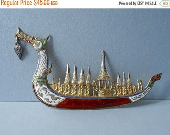 on sale Dragon Boat Pin Brooch Sterling Thailand Enamel Pin