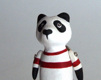 panda in red and white shirt -  pin - decorative jewelry - one of a kind - handmade