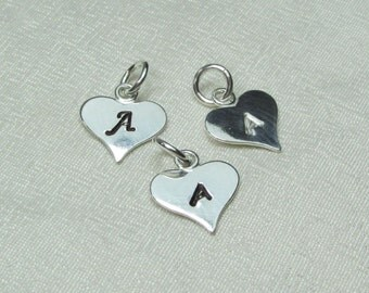"""Personalized Heart Charm - Small Hand Stamped Initial Charm - Sterling Silver 3/8"""" Disc with Letter or Design - Add to Monogram Necklace"""