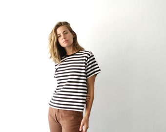 90s striped OXFORD soft SPRING t shirt top black and white shirt