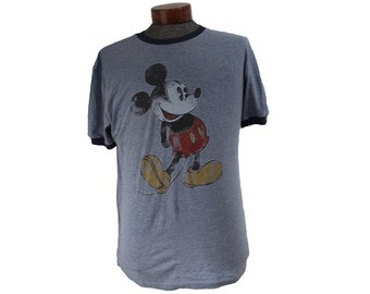Mickey Mouse Blue Ringer T-shirt Size Medium