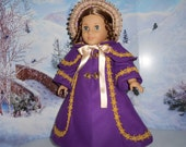 Victorian coat pellerine bonnet purple gold fits American Girl doll and similar 18 in hand made