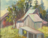 Three Barns oil painting Plein Air Painting by Marina Movshina