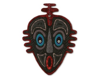 """Quilted Mask Wall Hanging - DOWN UNDER - 19""""w x 24.5""""h"""