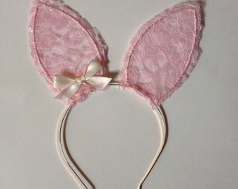Lace Bunny Ears with Bow