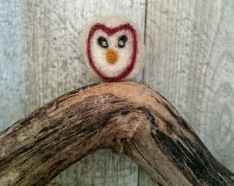 A Mini Woodland Barn Owl. Owl Ornament. Owl Toy.  Owl Pocket Pal.  Needle Felt Owl