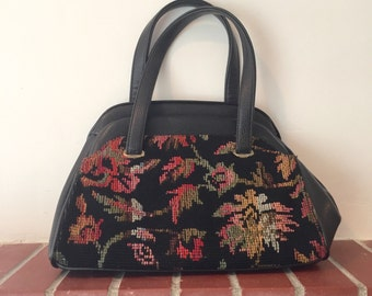 Vintage Needlepoint and Leather Purse Black Floral Tapestry