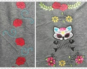 Day of the dead Cat skull set embroidery designs, cat skull - applique designs for hoops 4x4 and 5x7