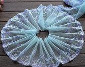 2 Yards Lace Trim Cyan Aulic Floral Embroidered Lace 7 Inches Wide High Quality