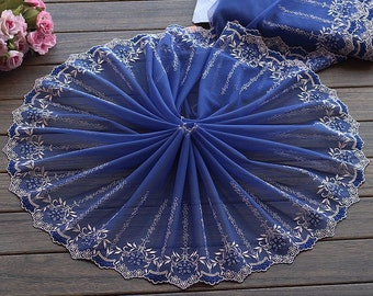 2 Yards Lace Trim Exquisite Flowers Embroidered Blue Tulle Lace 9.84 Inches Wide High Quality
