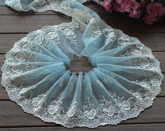 2 Yards Lace Trim Flowers Embroidered Cyan Tulle Lace 6.29 Inches Wide High Quality