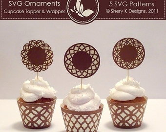 50% off SVG Ornaments Cupcake Topper and Wrapper