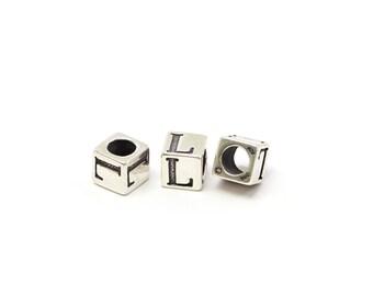Alphabet Beads Sterling Silver 4mm Alphabet Blocks L - 1pc (3178)/1