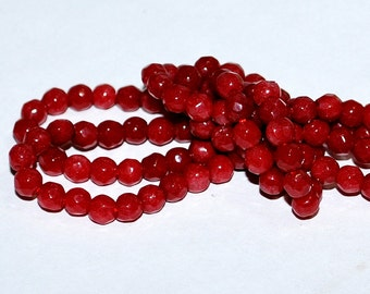 Half Strand 4mm Faceted Red Round Agate Gemstone Beads - 51 beads