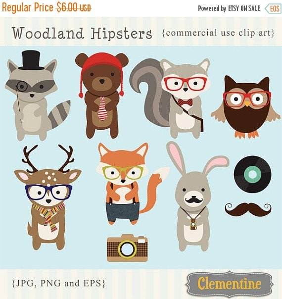 60 Off Sale Woodland Hipster Clip Art By Clementinedigitals