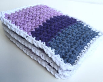 Crochet Sponge Dishcloth Washcloth - THICK - Set of 3 - Purple, Lavender, Slate Blue - 100% Cotton