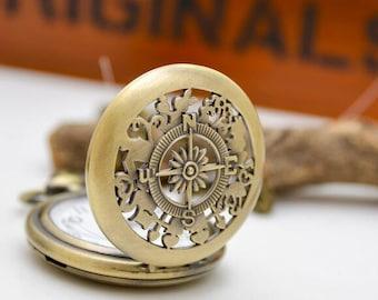 2pcs 47mm  Antiqued Bronze Color  Pocket Watch/ Charm/ Pendant Compass Cover