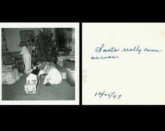 "Vintage Photo ""Santa's Footprints"" Christmas Snapshot Photo Old Antique Photo Black & White Photograph Found Paper Ephemera Vernacular - 76"