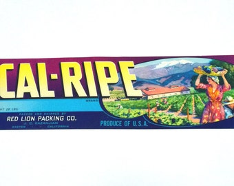 Vintage New Old Stock Unused CAL-RIPE Vegetable / Fruit Crate Label