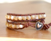 Leather bracelet, Natural Mother Of  Pearl bohemian beaded wrap, 2x, double, brown, white, boho, heart, trendy jewelry, hipster, Valentine