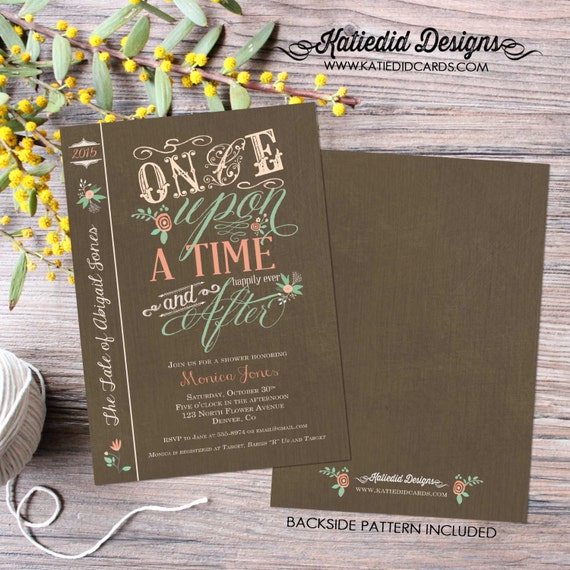 storybook once upon a time | rustic shower invitations gender neutral | mint coral invite | diaper wipe brunch | co-ed | 1379 Katiedid Cards